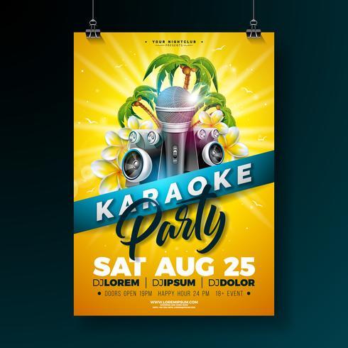Sommer-Karaoke-Party-Flieger-Entwurf mit Blume, Mikrofon, Sprecher und Palmen auf Sonnengelbhintergrund. Vektor-Sommer-Design-Vorlage