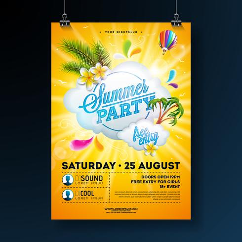 Vector Summer Party Flyer Design with flower, palm trees and sun glasses on sun yellow background. Summer nature floral elements, tropical plants, air balloon and typographic elements
