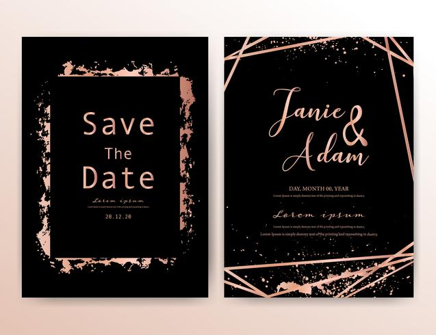 Hochzeitseinladungskarte, speichern die Datumshochzeitskarte, modernes Kartendesign mit goldenem geometrischem und Bürstenanschlag, Vektorillustration.