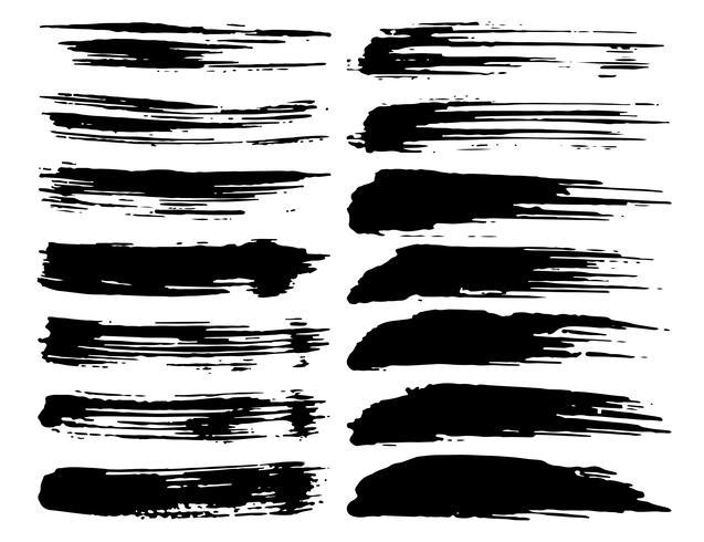 Reeks penseelstreken, zwarte inkt grunge penseelstreken. Vector illustratie.