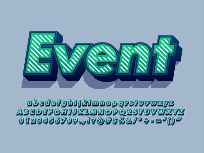 Texto de tipografia de fonte 3D com padrão de listra vetor