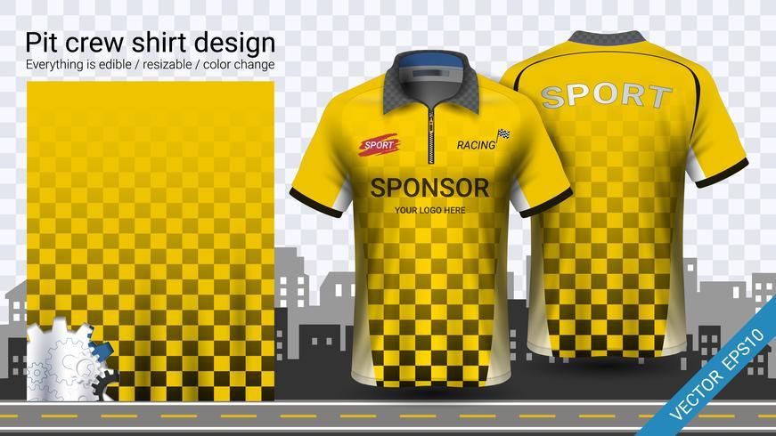 Racing t-shirt with zipper, Sport apparel mockup template.