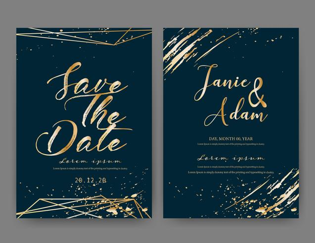 De kaart van de huwelijksuitnodiging, sparen de kaart van het datumhuwelijk, Modern kaartontwerp met gouden geometrische en borstelslag, Vectorillustratie.