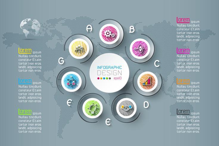 Infografica di affari con 7 passaggi.