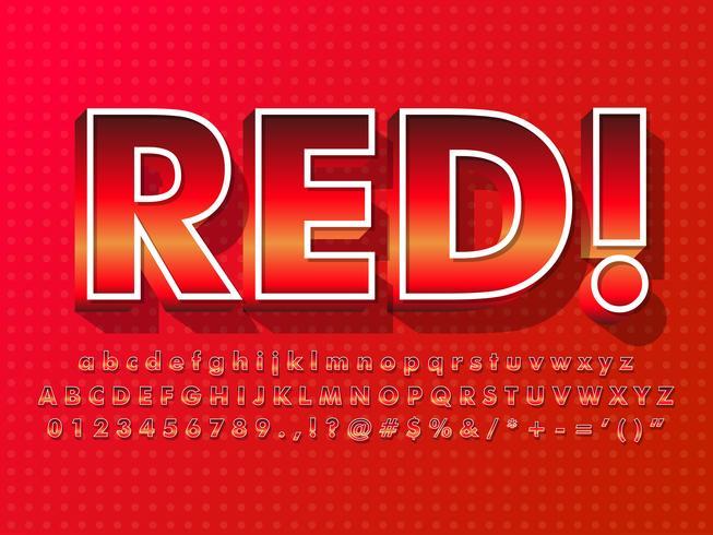 Carattere rosso con effetto caldo