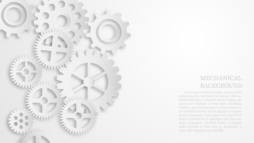 Concepto mecánico blanco abstracto del fondo del engranaje. Estilo de corte de papel.