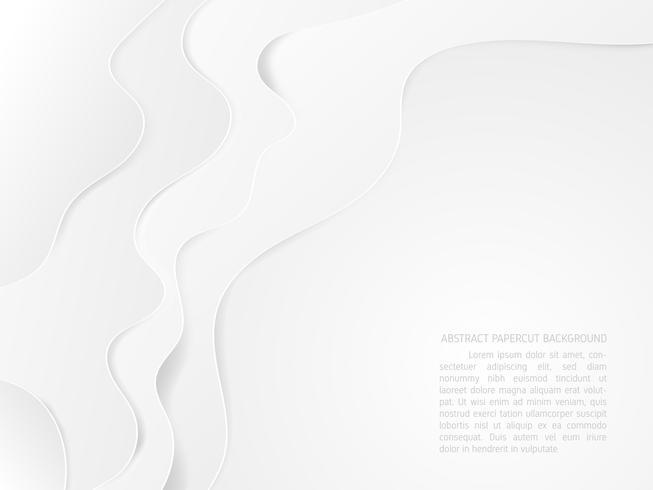 Abstrakt vit och grått vatten våg bakgrunds papper klippt stil.