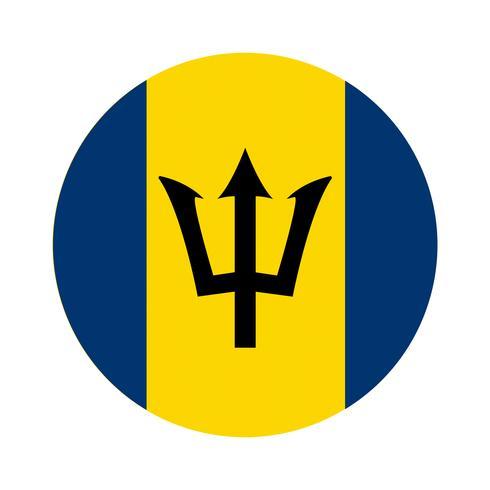 Round flag of Barbados.