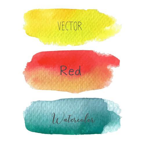 Grupo de aquarela colorida dos cursos da escova no baclground branco, ilustração do vetor. vetor