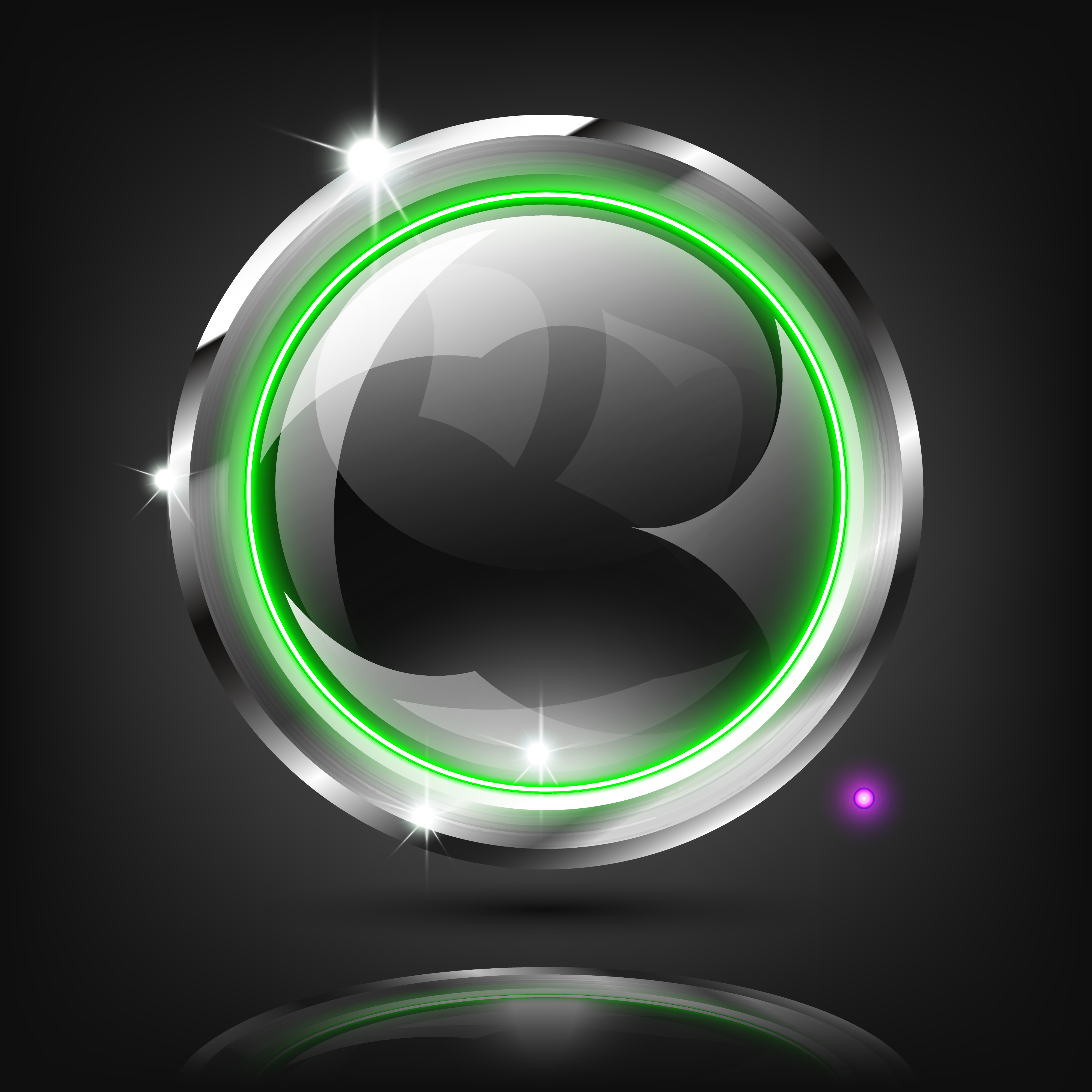 Monochrome Button With Green Ring Light On Dark Background