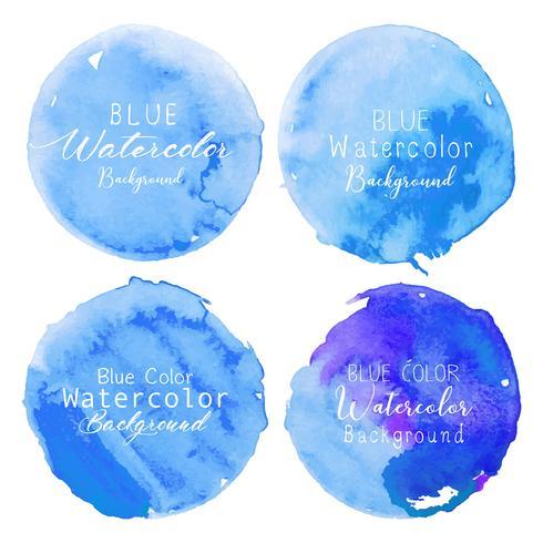 Blå akvarell cirkel sätta på vit bakgrund. Vektor illustration.