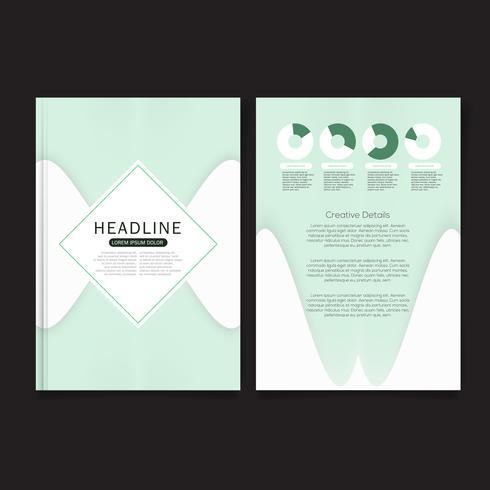 Cover ontwerpsjabloon, jaarverslag dekking, flyer, presentatie, brochure. Sjabloon voor lay-out voorste paginaontwerp met afloop in A4-formaat. Grijsgroene kleuren met abstracte achtergrondsjablonen.