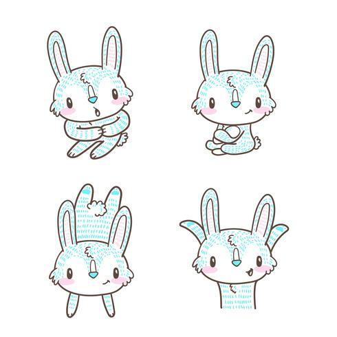 cute little bunny and rabbit cartoon doodle vector