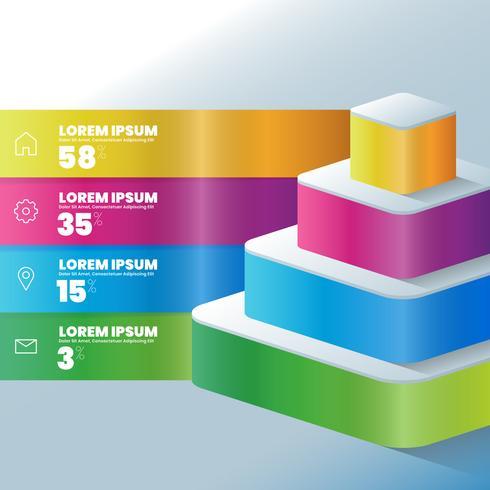 Modello di layout del flusso di lavoro di progettazione infografica 3D