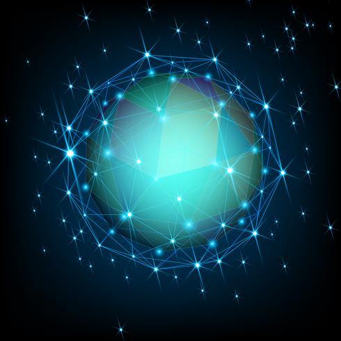 Étoile polygonale dans l'univers sombre. vecteur