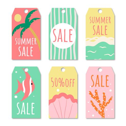 Hand Drawn Label Summer Sale Collection vector