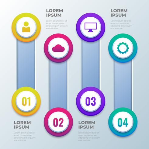 Four Steps 3D Infographics Template vector