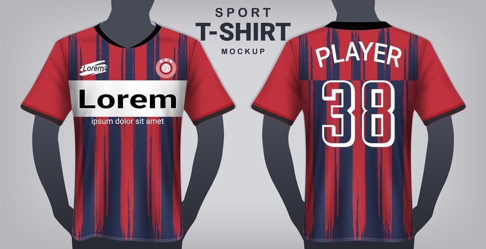 Jersey de futebol e modelo de maquete de t-shirt do esporte, Design gráfico realista frente e vista traseira para uniformes de jogo de futebol.