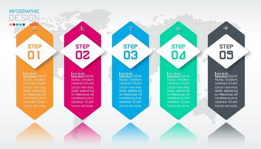 Business infographic med 5 steg.