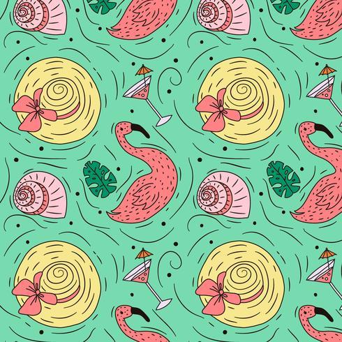 Doodle verano patrón con sombrero de flamenco y bebida