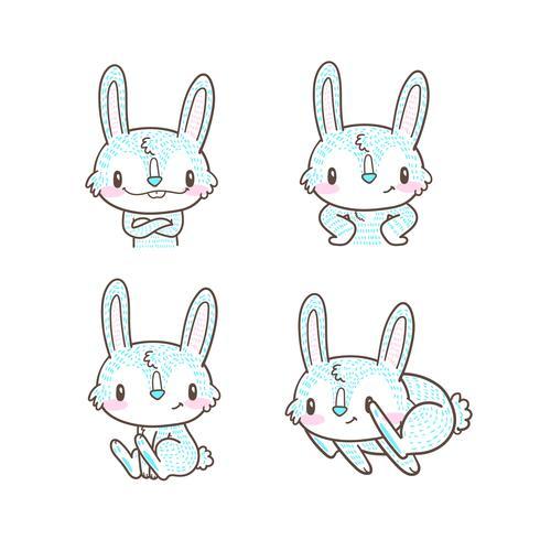 lindo conejito y conejo dibujos animados doodle vector