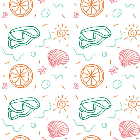 Doodle Summer Pattern With Coral, Orange And Sun vector