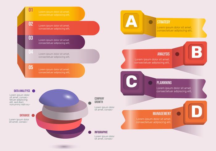 Infographic Element-Vektor-Satz der Fahnen-3D vektor