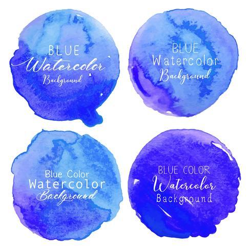 Círculo azul da aguarela ajustado no fundo branco. Ilustração vetorial