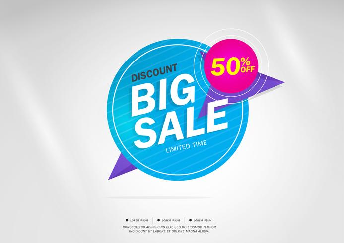 Big Sale and special offer. 50% off. Vector illustration.Theme color.