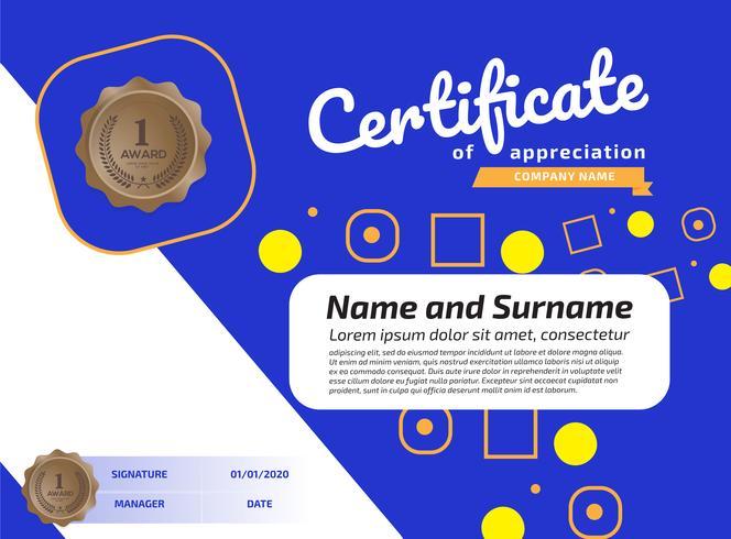Certificado de reconocimiento plantilla de premio. Certificado de ilustración en tamaño A4