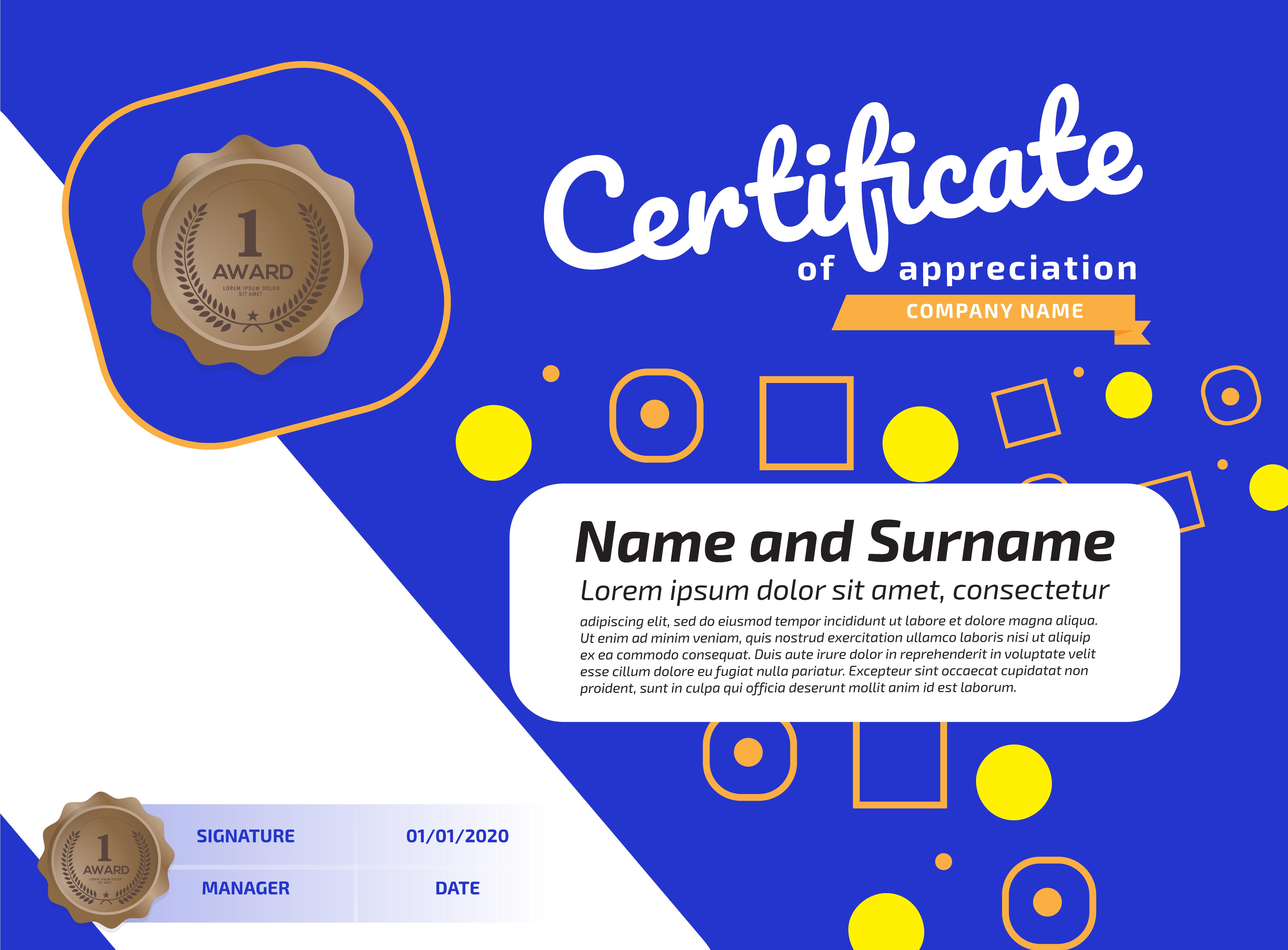 certificate of appreciation award template  illustration