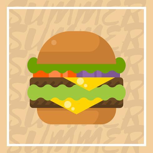 Illustration vectorielle de plat double fromage Burger Summer Food