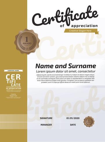 Certificaat van waardering Award-sjabloon. Illustratie Certificaat in A4-formaat patroon vector
