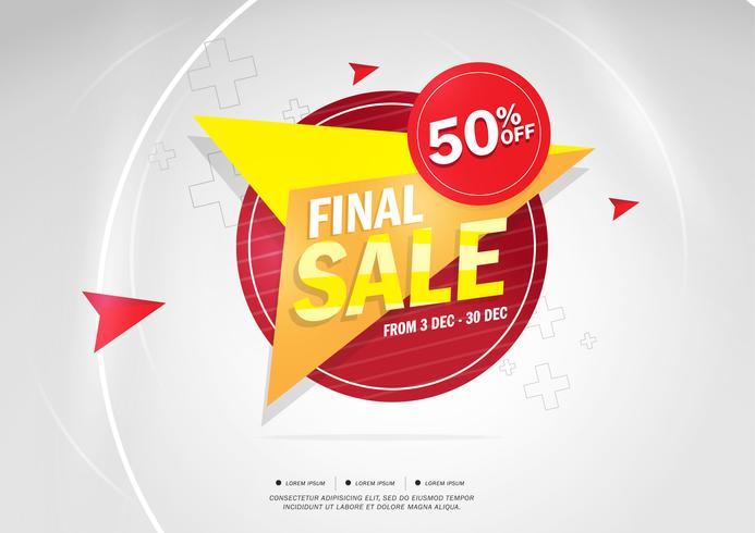 Slutlig försäljning och specialerbjudanden. 50% rabatt. Vektor illustration. Tema färg.
