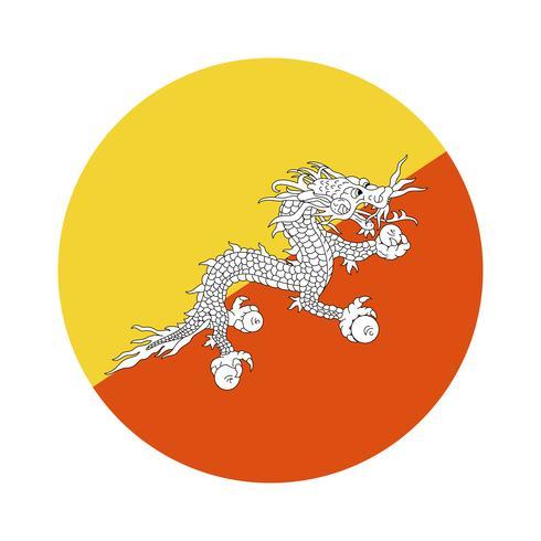 Round flag of Bhutan.