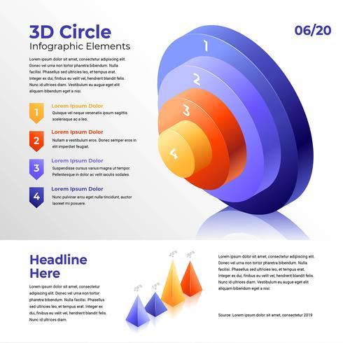 Elementos de infografía de partes de circuitos 3D vector