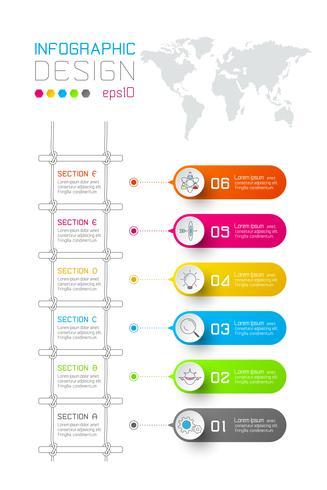 Las etiquetas coloridas del rectángulo del negocio forman la barra vertical infographic con paso de las escaleras. vector