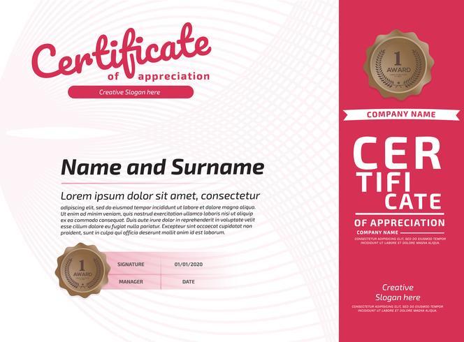 Certificate of Appreciation Award Mall. Illustrationsintyg i A4-format vektor