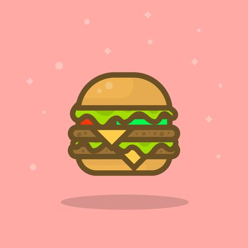 Apartamento moderno simples Burger verão comida ilustração em vetor