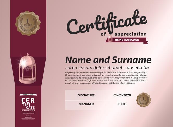 Certificaat van waardering Award-sjabloon. Illustratie Certificaat in A4-formaat patroon