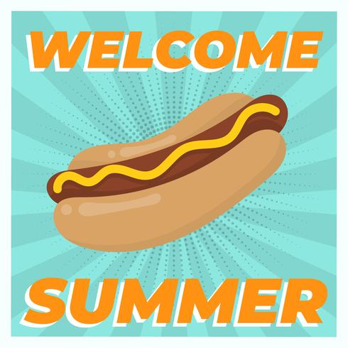 Ejemplo plano del vector del alimento del verano del perrito caliente del vintage