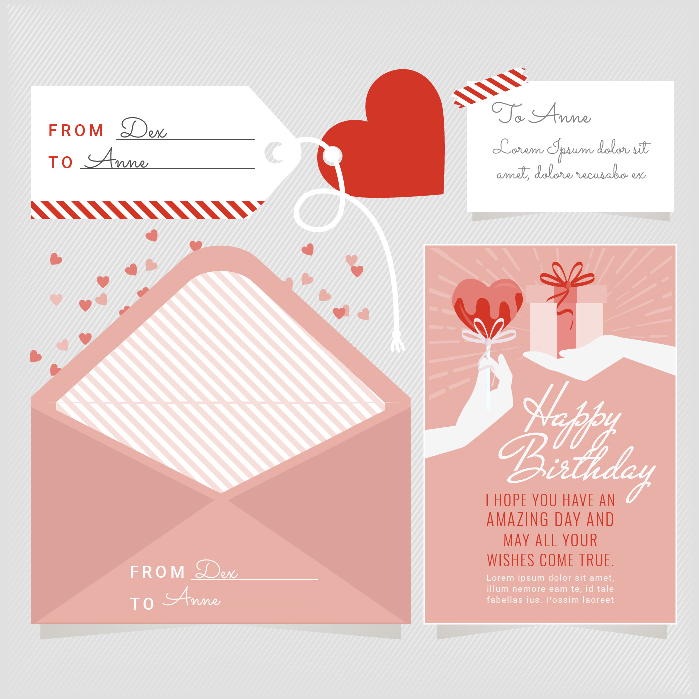 vector birthday card and envelope 556330  download free