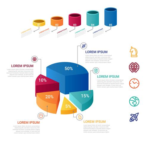 3D-infographic element vector
