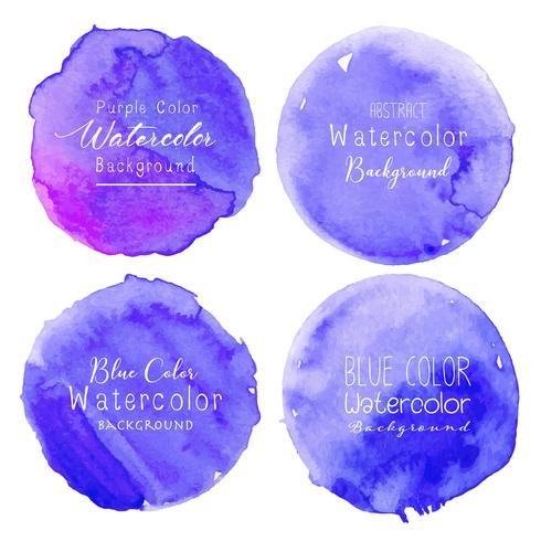 Blue Watercolor Circle Set On White Background Vector