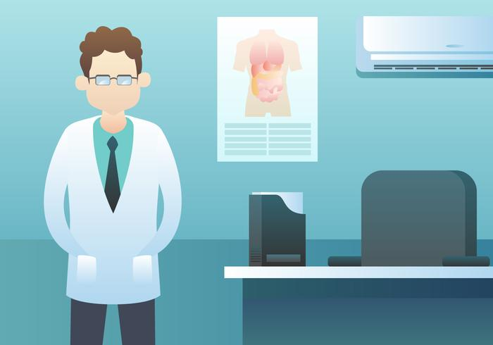 Healthcare Character Doctor In The Room Vector