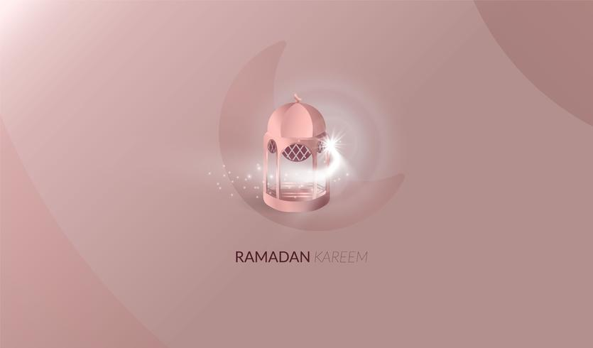 Ramadan Kareem beautiful greeting card. Ramadan Kareem background with moon, stars, mosque rose gold color vector