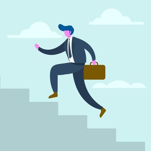 Flat Businessman Walk On Stairs Corporate Goal Vector Illustration