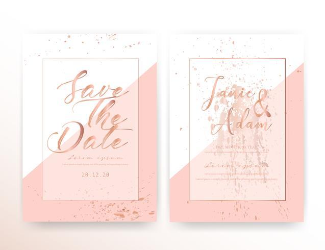 La carta dell'invito di nozze, conserva la partecipazione di nozze della data, progettazione di carta moderna con il colpo dorato della spazzola e geometrica, illustrazione di vettore.