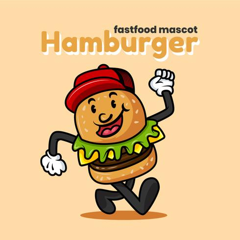 retro tecknad hamburger karaktär vektor illustration