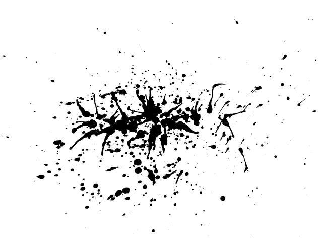 Acuarela negra abstracta del chapoteo de la tinta, textura del espray de la acuarela del chapoteo aislada en el fondo blanco. Ilustracion vectorial vector